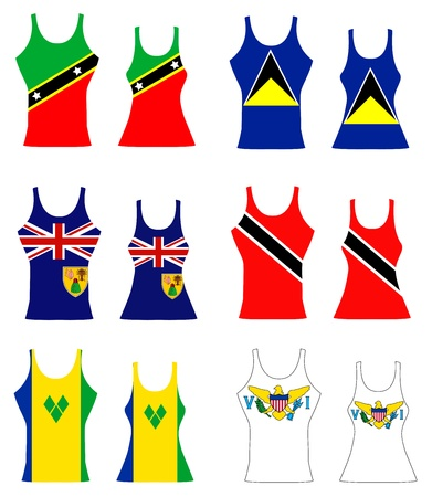llustration of Caribbean Tank Tops for men and women. Vector