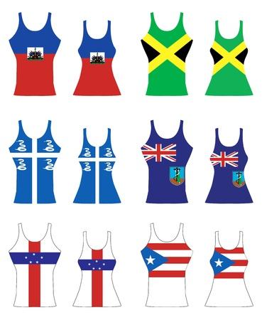 rican: Ilustraci�n de Tank Tops del Caribe para hombres y mujeres.