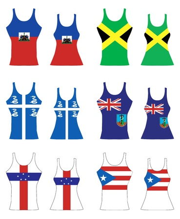 spanish culture: llustration of Caribbean Tank Tops for men and women. Illustration