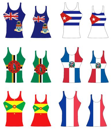 futbol soccer: llustration of Caribbean Tank Tops for men and women. Illustration