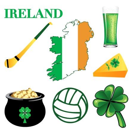 Illustration for Ireland. Irish Button Icons Vettoriali