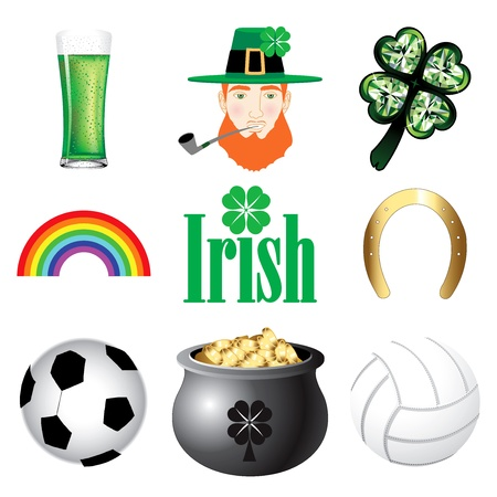 Vector Illustration for Ireland. Irish Button Icons Vector