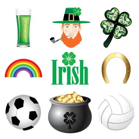 Vector Illustration for Ireland. Irish Button Icons Stock Vector - 12349696
