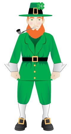 Vector Illustration of an Irish leprechaun with a pipe Vector