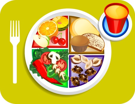 Vector illustration of Vegan or Vegetarian Breakfast items for the new my plate replacing food pyramid. Vector