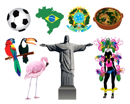 Vector Illustration of several Brazilian icons and symbols. 에디토리얼