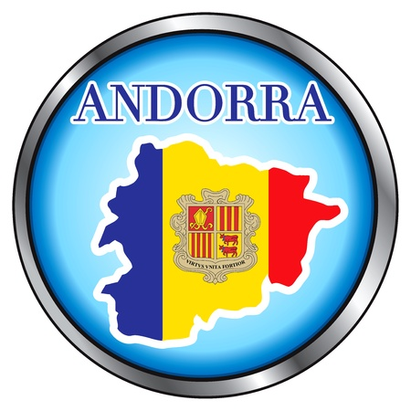 Vector Illustration for Andorra, Round Button. Vector