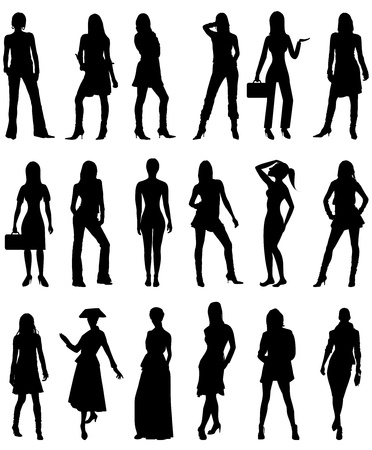 curvy: Vector Illustration of People Silhouettes 2. Business, Casual and Formal.
