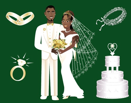happy black man: Vector Illustration of a wedding couple and icons.