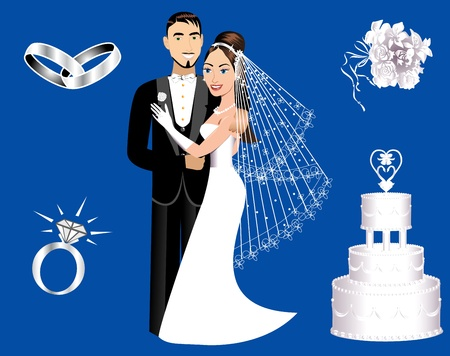 silver ring: Vector Illustration of a wedding couple and icons.