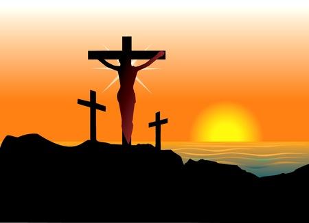 Vector Illustration of Jesus Christ on cross. Easter Resurrection. Vettoriali