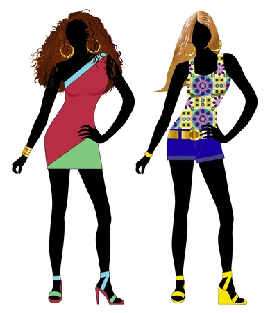 sexy woman disco: Vector Illustration of spring summer fashion model Silhouettes