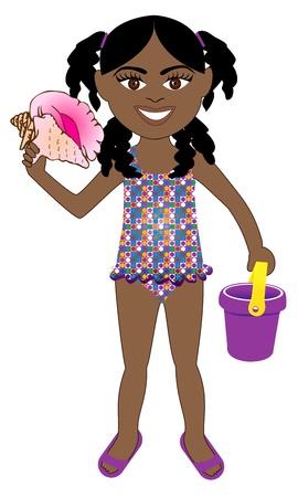 enfant maillot de bain: Vecteur de la jeune fille en maillot de bain avec afro popsicle et sauveteur.
