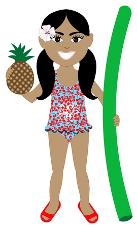 ponytails: Vector of Hawaiian girl in swimsuit with Pineapple and Noodle Floatie.