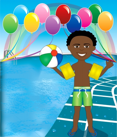 Vector Illustration of Ball Boy at pool party with balloons and beach ball. Vettoriali