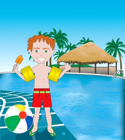 young boy in pool: Vector Illustration of poolside resort with beach ball. Illustration