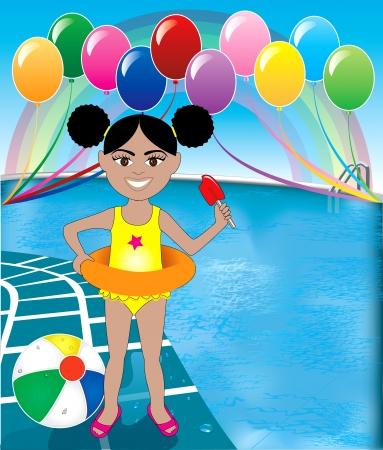 spring out: Ilustraciones Vectoriales de Chica de paletas en la fiesta de la piscina con globos y pelotas de playa.