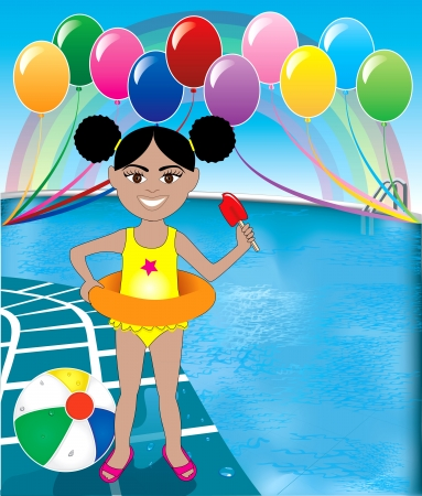 Vector Illustration of Popsicle Girl at pool party with balloons and beach ball. Stock Illustratie