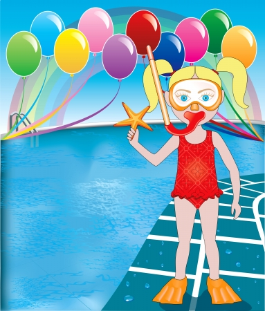 schwimmtier: Vector Illustration von Schnorchel Girl at Pool-Party mit Luftballons