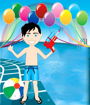 splash pool: Vector Illustration of watergun boy at pool party with balloons and beach ball.