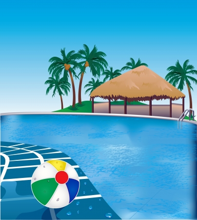 Vector Illustration of poolside resort with beach ball. Çizim