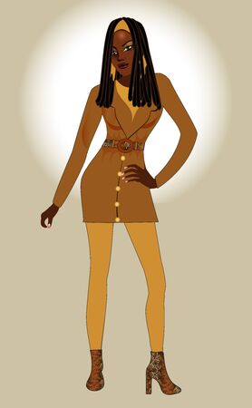 ebony: Vector Illustration of Fall and Winter fashion model woman. Illustration
