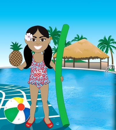 Hawaiian girl poolside resort with pineapple, noodle and beach ball. Vector