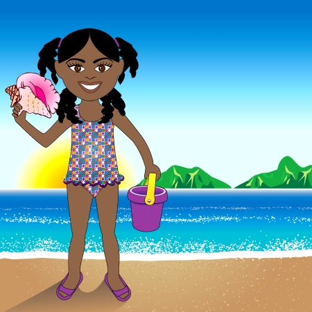 hair clip: a Conch Shell girl with a Beach Background. Illustration