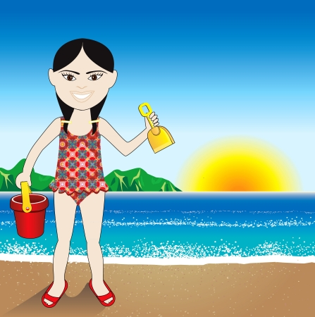 a Beach Sand Chinese Girl Background.