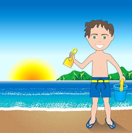 Beach Sand Boy Background.