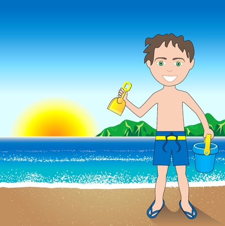 Beach Sand Boy Background. Vector