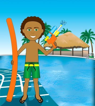 biracial: Hawaiian Pool Mixed Afro Boy with noodle and water gun. Illustration