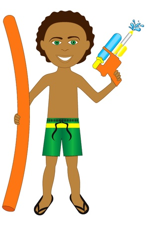 Vector Illustration of little boy with noodle and water gun. Vector