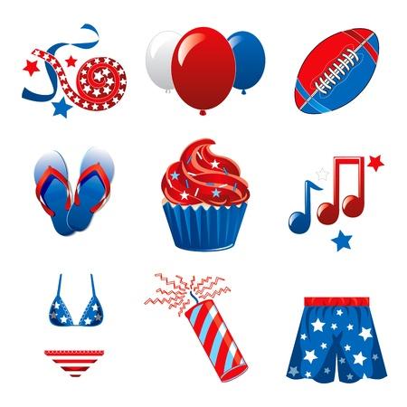 comida americana: Ilustraci�n vectorial de nueve iconos para el 4 de julio Celebraci�n de la Independencia.