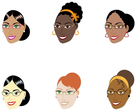 Vector Illustration of six different smart women with glasses and hair up in a bun. Иллюстрация