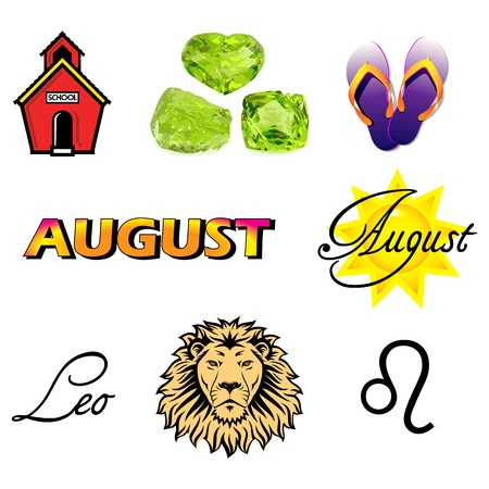 peridot: Illustration of nine August Icons including birthstones, holidays