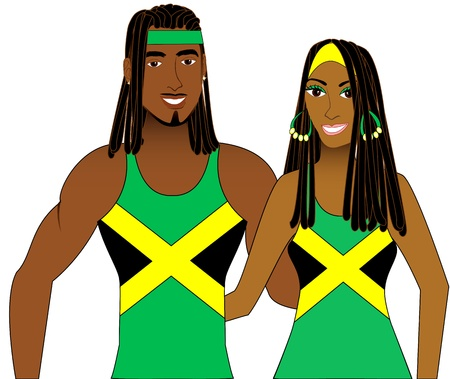 llustration of Jamaican People in Tank Tops for men and women. Vector