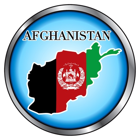 afghan flag: Illustration for Afghanistan, Round Button.
