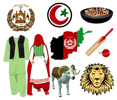 Illustration for Afghanistan. Nine different icons. Vector