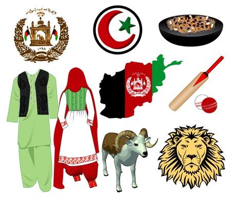 marco: Illustration for Afghanistan. Nine different icons. Illustration