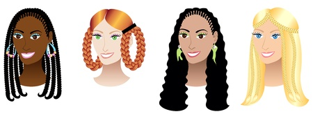 long straight hair: Illustration set of four women with braids, plaits or cornrows. Illustration