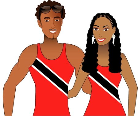 Vector llustration of Trini Trinidadian People in Tank Tops for men and women. Vector