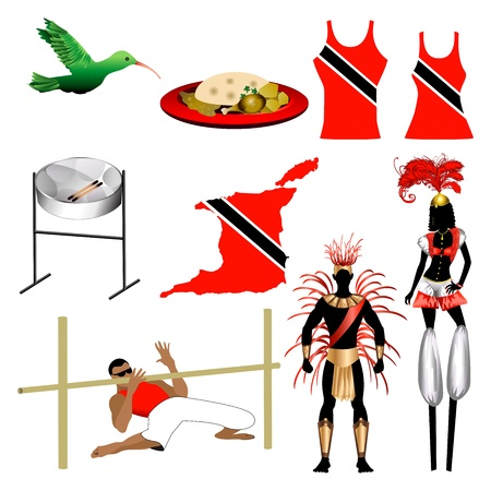 trini: Vector Illustration of 9 different Trinidad and Tobago Trini icons.