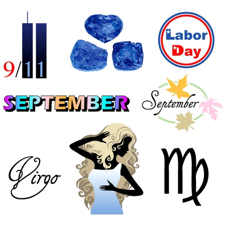 eleventh: Illustration of eight September Icons including birthstones, holidays and zodiac symbols.