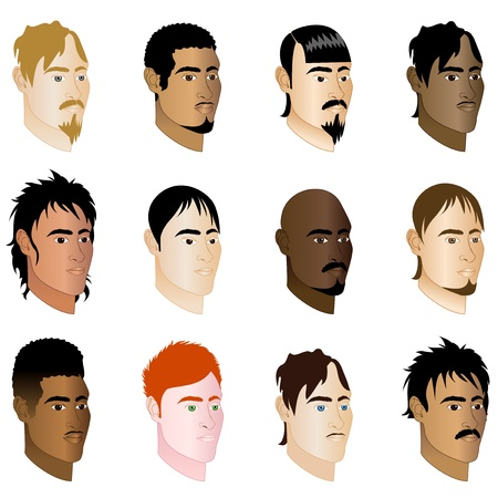 Illustration of 12 different men side profile view.