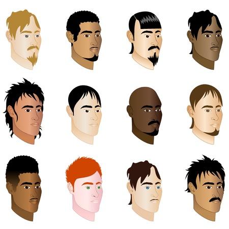cabello casta�o claro: Ilustraci�n de la vista de perfil 12 hombres diferentes lados.