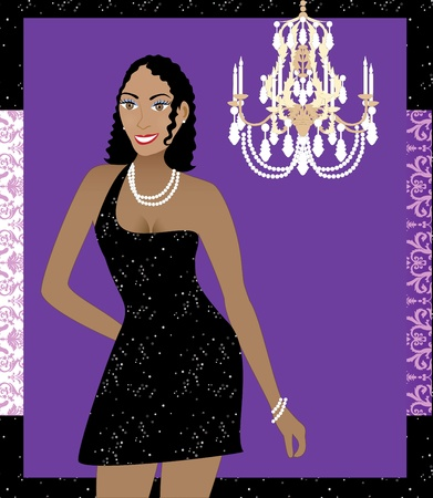 Illustration of a woman in black dress. Can be used for a party invitation or more. Vector