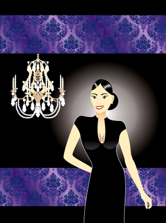 illustration of an Asian woman in a black formal dress  Vector
