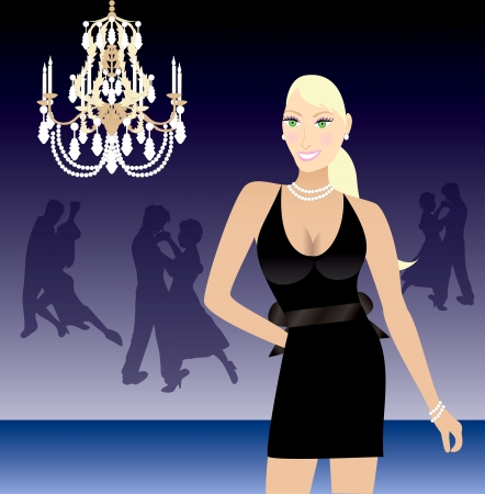 illustration of a blond woman in a black formal dress Stock Vector - 15522381