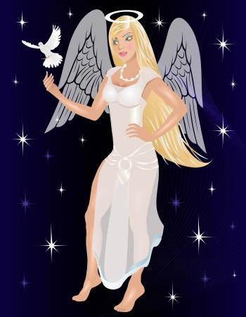 Vector Illustratie van een Engel met een duif.